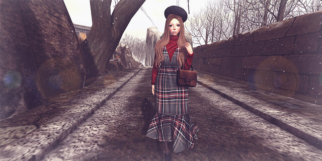 {amiable}Feminine Check Maxi Skirt Dress@the Shiny Shabby(50%OFF SALE).