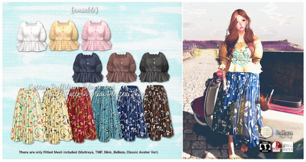 {amiable}Cotton_Puffsleeve_Blouse_and_Pedicel_Pattern_Midi_Pleated_Skirt2