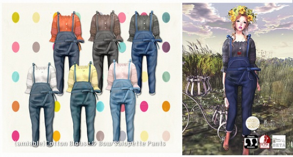 {amiable}Cotton_Blouse&Bow_Salopette_Pants