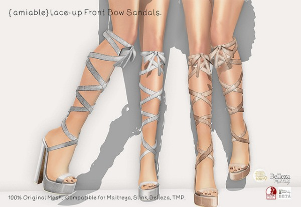 {amiable}Lace-up Front Bow Sandals_AD